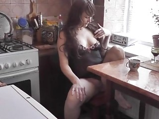 After kitchen naked cooking wife was caught masturbating with cup of cofee