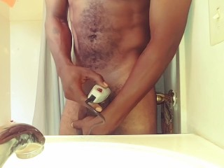 Smooth-shaven DICK dark-hued guy pruning His bbc.