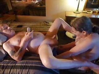 Dildo fucking & finger fucking my husband's ass while I suck him off