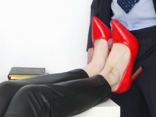 'footjob in the office, fellow jism on the gams of the secretary'