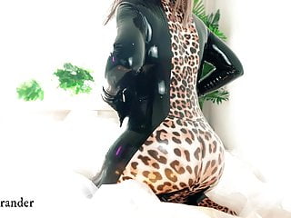 Latex Rubber Fetish Ass Teasing, MILF in catsuit, free video