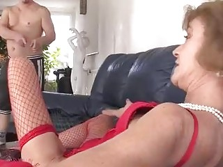 Horny, Hungarian grannie in glamour, crimson underwear is about to have mushy assfuck hookup with her paramour