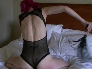 Getting off with bullwhip, anal invasion cork, vibro, and faux-cock