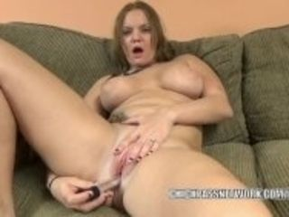 """Horny blonde Tonya Sinn uses a big toy on her wet pussy"""