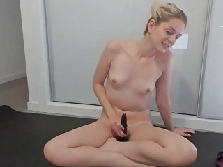 Naked German woman Sylvia does yoga with THERABAND