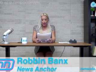 Camsoda News Network cougar Reporter reads out news as she rails the sybian saddle