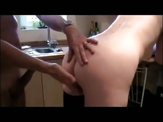 Cheating wife lets me fuck her in kitchen when hubby at work