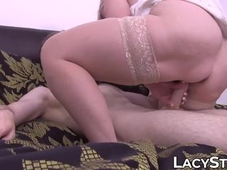 British granny Lacey Starr drilled after sucking young cock