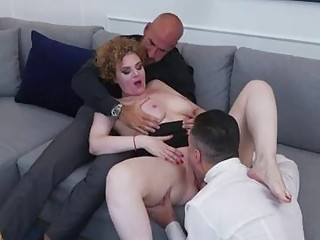French mature is having a casual three-way with buddies, while her hubby is on his way home