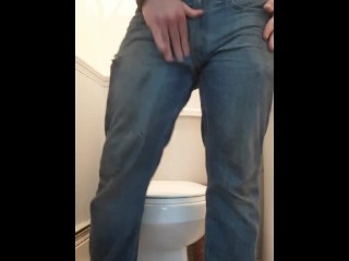 Stroking my cock in the bathroom