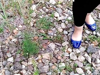 wife in blue ballerinas walk and crush