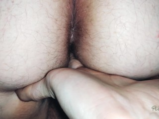 Fucked pussy from behind,  creampie