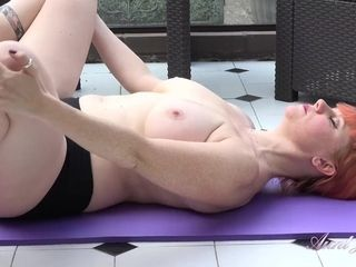 """AuntJudys .. Buxom 43yo UK Auntie Velvet gets horny during Yoga"""