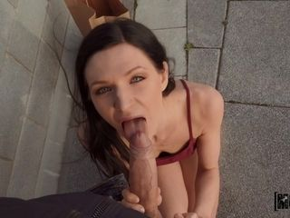 Cock-squeezing lengthy-legged cougar Arian fun blows lengthy sinewy shlengthy on the street