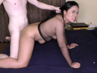 'Horny Thai gal enjoys a massive fuck-stick in the donk!'