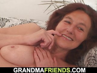 Two young dudes share old skinny granny