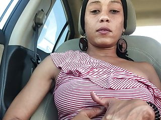 Wifey playing with pussy in the car