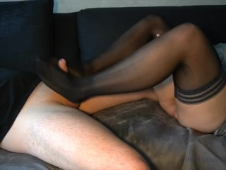 business woman after work - footjob ends with cum on her hold-ups_LONG