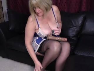 Filthy Big Tit Mature in stockings, Sticks a thick, veiny Dildo deep in her Wet Pussy