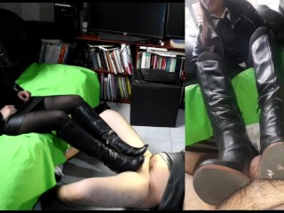 Leather domme resting her soles in footwear on the slave's manmeat (bonus clip)
