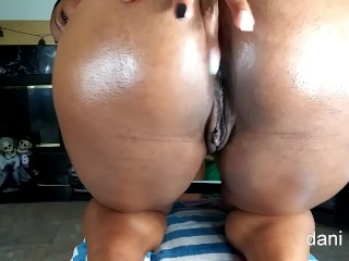 Steaming black cougar lubes her butt and pleads for internal ejaculation free-for-all