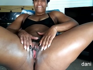 Super-steamy black cougar lubes her butt and prays for internal cumssuper-steamy