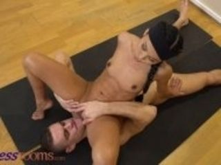 """Fitness Rooms Tiny Asian yoga student Suzie Q fucks her perverted trainer in creative positions"""