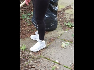 Step mommy ravage with step son-in-law and jizz flow on stretch pants in the back garden