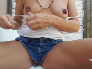 Nipringlover plunging canals in opened up nip piercings - displaying pierced vulva outside