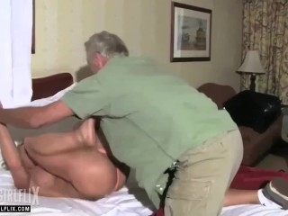Muscle cougar predominates dude in couch
