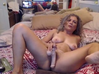 Curly housewife busts like blast a few times