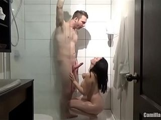 Motel bathroom orgy with molten huge-titted youthful mommy finishes with A F