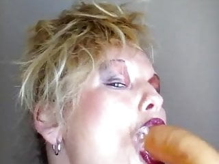 Kinky old woman gags and spits all over dildo!!So hot!!!