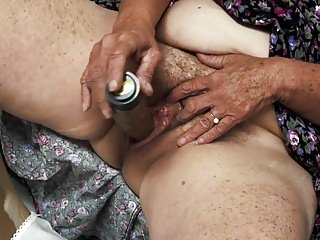 Superannuated muted granny enjoys cum