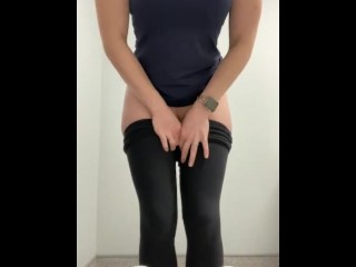 Hot blonde wife with a nice big ass records herself at work sitting down on the toilet and pissing.