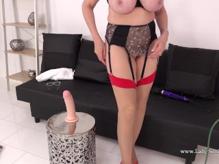 'Hot and big-boobed blond mature woman Sonia gets off with her toy'