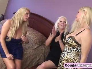 Trio of sexy blonde cougars enjoys 2 hefty dongs in orgy