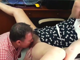 Girl manager gives vulva for cuni with engineer girl manager manager and worker trio