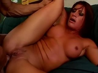 Red-haired with massive boobs and in spandex mittens Marie Silva gets pumped with ample dick in her beaver assfucking fuck hole