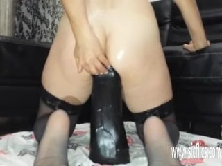 Sarah engulfs thick fake penises in her hungry vulva