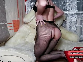 Crimson high-heeled slippers AND lip liner gal faux-cock wanking