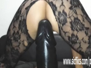 Colossal faux-cock plumbing first-timer cougar Sarah