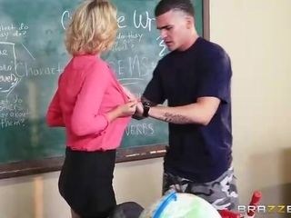 Buxom blond professor had nasty intercourse with one of the college girls, while they were in the classroom