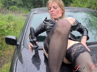 Slut Orgasma-Celeste outdoor orgasm on her car in the rain