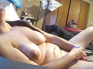 Milf Plows Her Fat Pink Pussy Hard and Loud, Hidden Cam