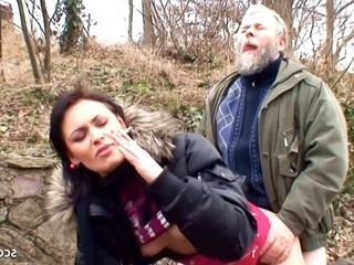 Gross granddad Has Outdoor fucky-fucky with lovely student for money