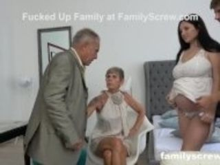 """8 Months Pregnant Maid watching StepFamily Fuck"""