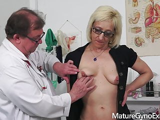 Hot granny's old pussy exam