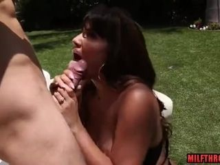 Black-haired cougar hard-core with facial cumshot