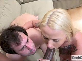 Layla and her sissy stud dual teams a big black cock